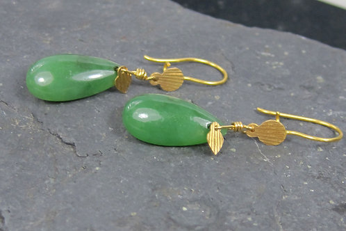 Jade Earrings in 21k & 22k Yellow Gold Drop / Nephrite Jade Earrings