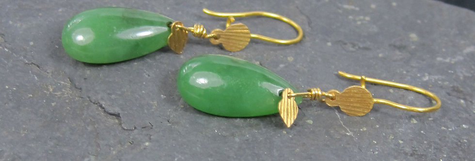 Jade Earrings in 21k & 22k Yellow Gold Drop / Nephrite Jade Earrings