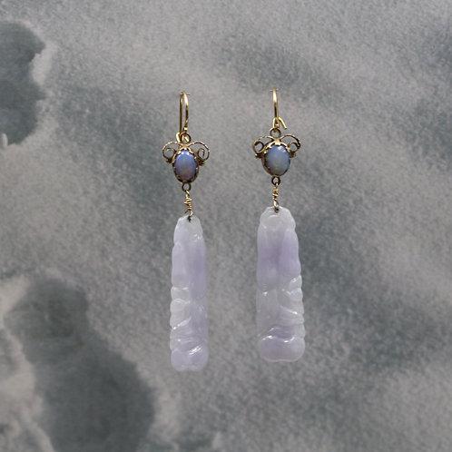 Art Nouveau Lavender Jade & Opal Earrings 10k/ 14k Yellow Gold