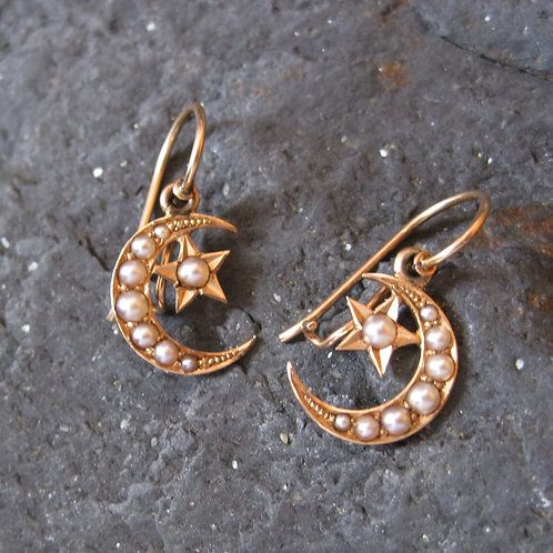 Pair of Victorian Crescent Moon & Star Pearl Drop Earring in 14K Yellow Gold