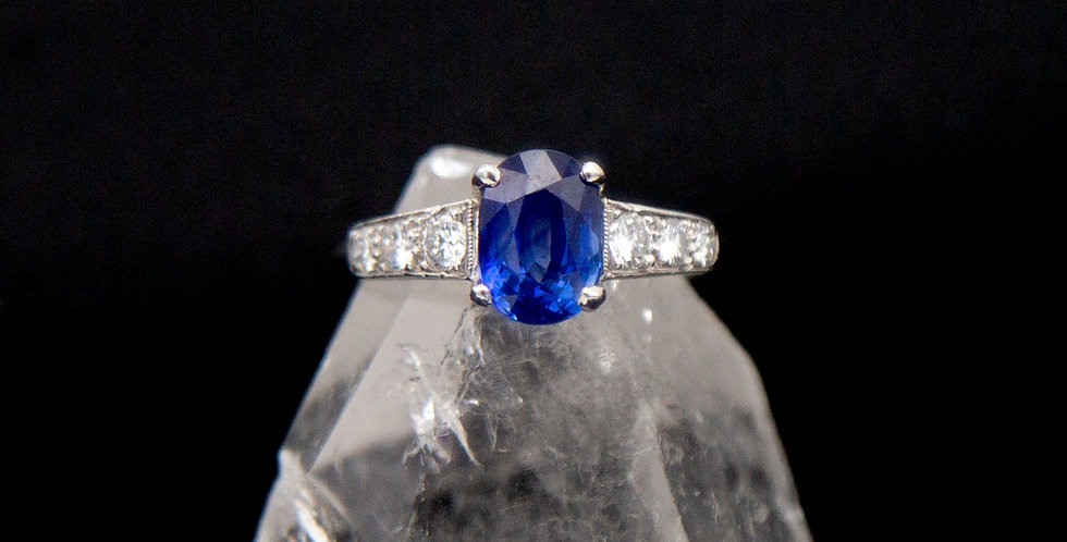 Sapphire and Diamond Ring in Platinum Sapphire and Diamonds