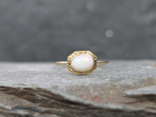 Art Deco Ring / Opal Ring in 10k Yellow Gold Conversion Ring