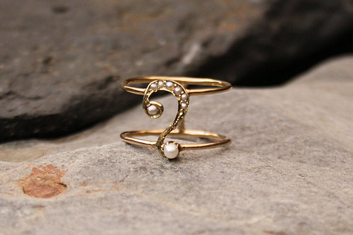 14k Yellow Gold Pearl Art Nouveau Question Mark Conversion Ring