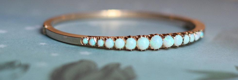 Antique 14k Rose Gold Opal Bangle Bracelet 5.8 - 2.4 mm Wide