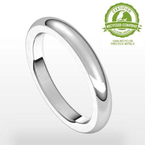 Heavy Classic Wedding Band 14k White Gold Band 3 mm Wide x 2.6 mm Thick Finger