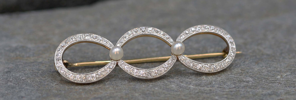 Incredible Edwardian Diamond and Pearl Brooch in Platinum and 18k Gold