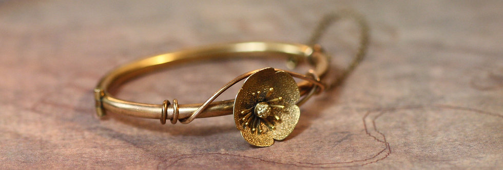 Victorian Bangle Bracelet Gold Filled Flower Bangle Bracelet Childs Size