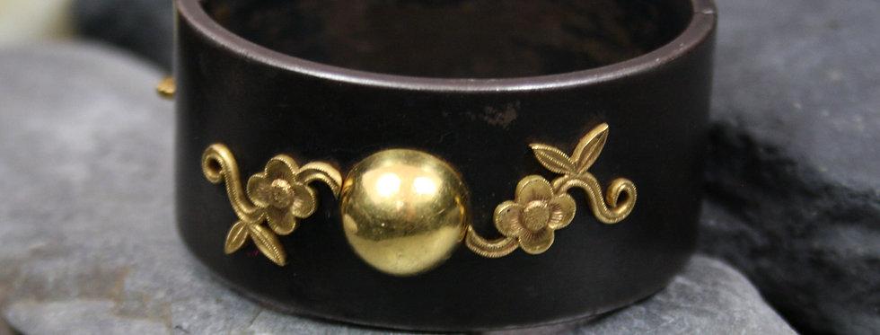 RARE Victorian Berlin Iron and Gold Bangle Bracelet 15k Gold