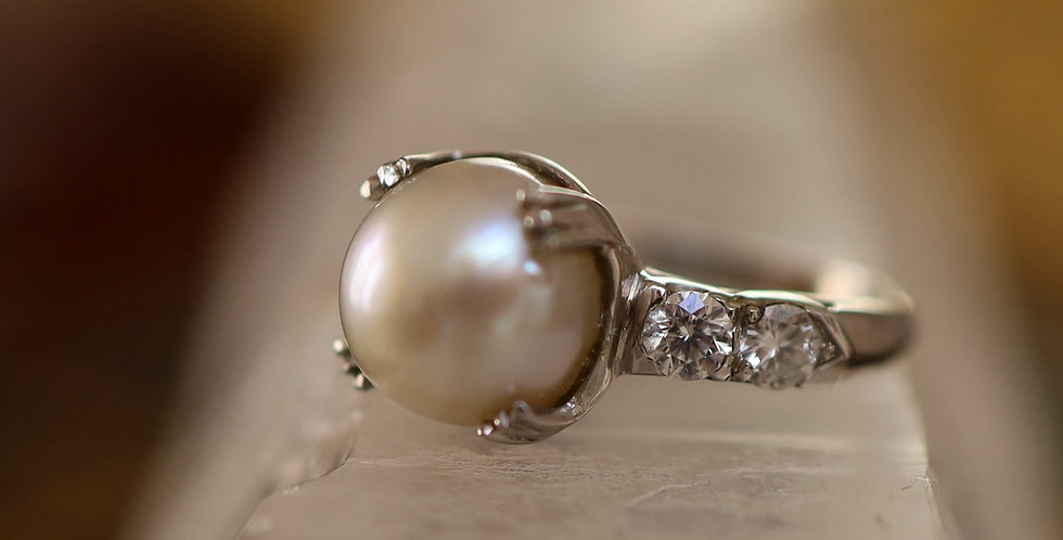 Diamond and Pearl Ring 14k White Gold and Diamond 10 mm South Sea Pearl Ring