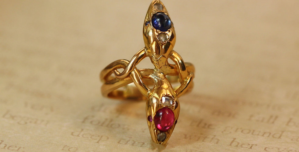 Victorian Double Headed Snake Ring in 18k Yellow Gold Size 7.25 / Sapphire Ruby