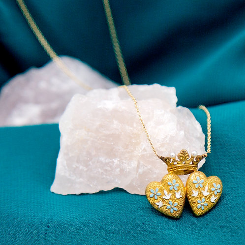 Art Nouveau Repoussé Double Heart and Crown Necklace with Pearls and Enamel
