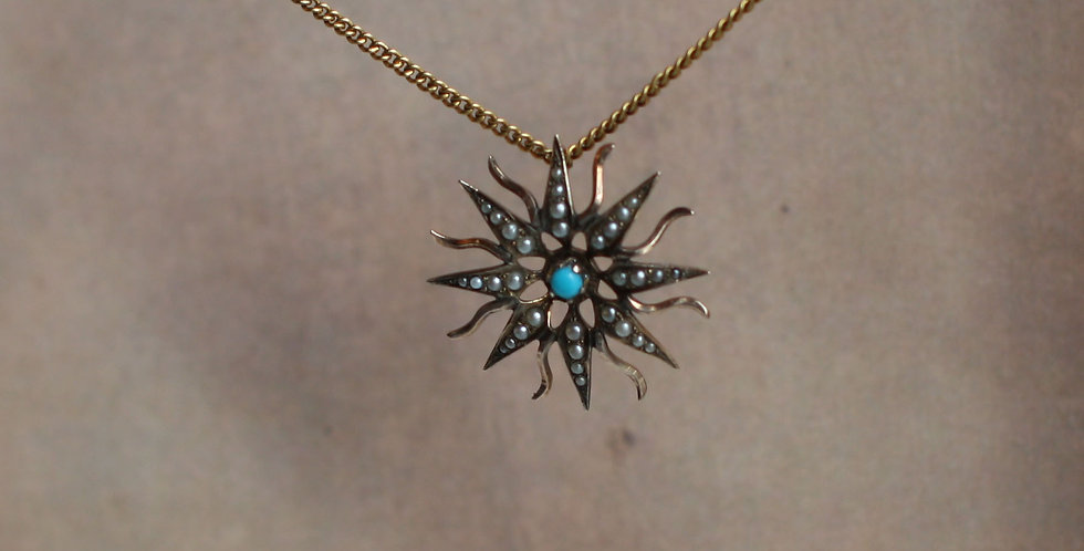 Victorian 10k Gold Starburst Pendant with Turquoise