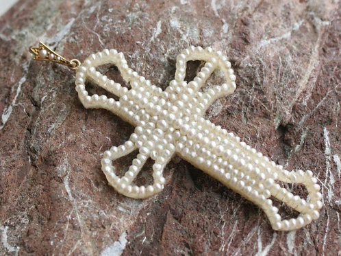 Antique Victorian Seed Pearl Cross in 14k Yellow Gold