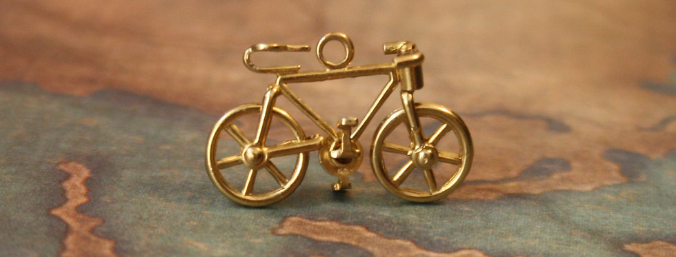 Antique Bicycle Charm 14K Yellow Gold Bicycle Pendant
