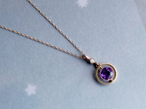 """Edwardian Amethyst Pendant in 9k Gold on an 18"""" 10k Yellow Gold Chain"""