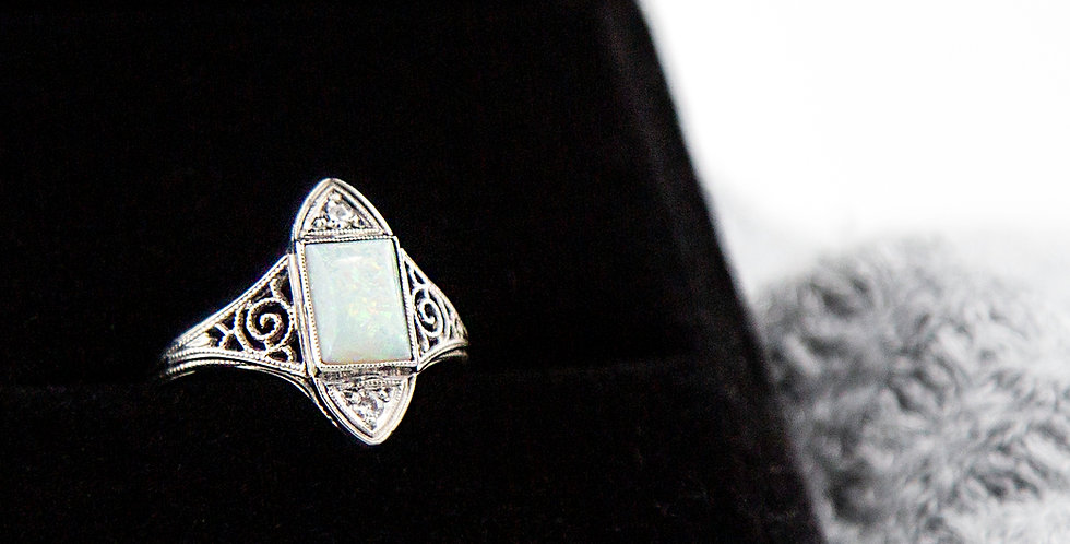 Art Deco Ring Opal and Diamond Ring in 18k White Gold