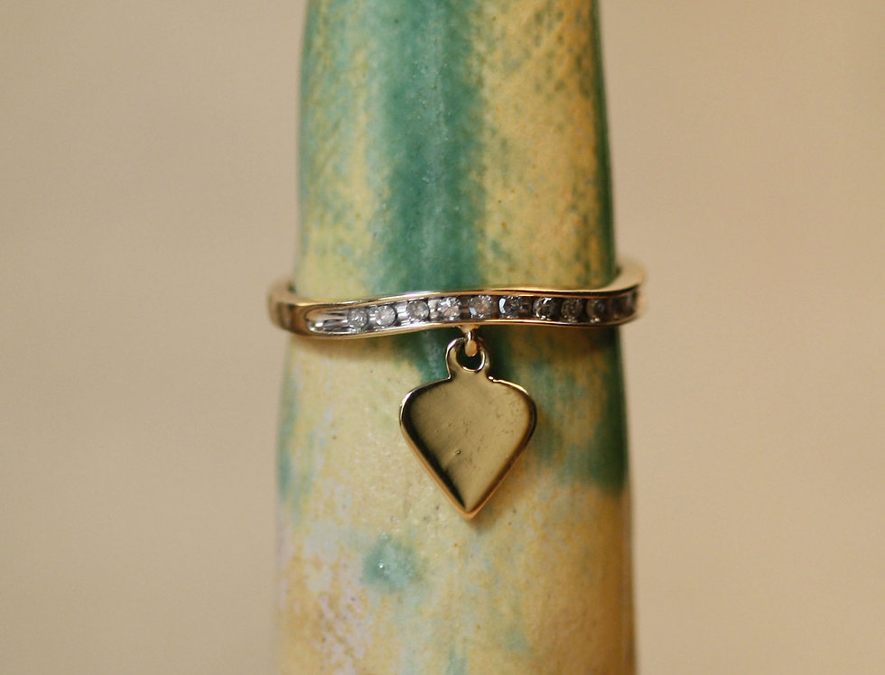 Diamond Charm Ring / Diamond Heart Charm Ring / Gold Heart with Diamond Band