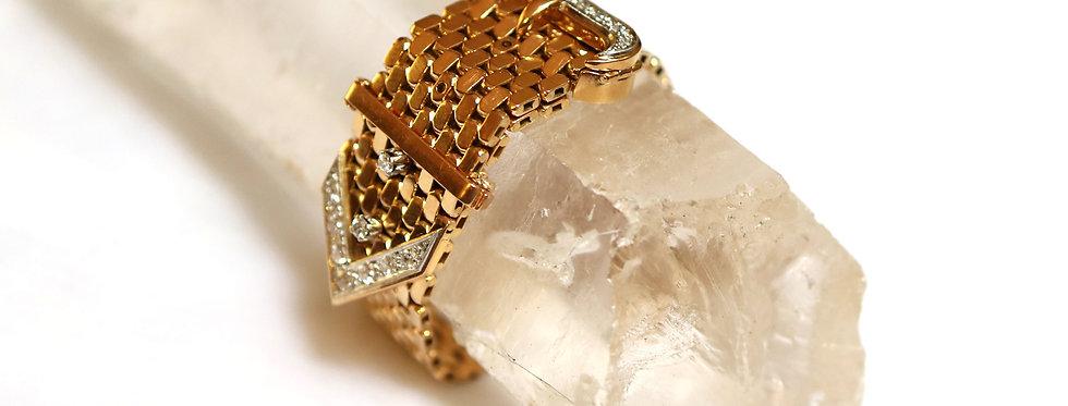 Retro Diamond Buckle Bracelet circa 1940 in 18k Gold