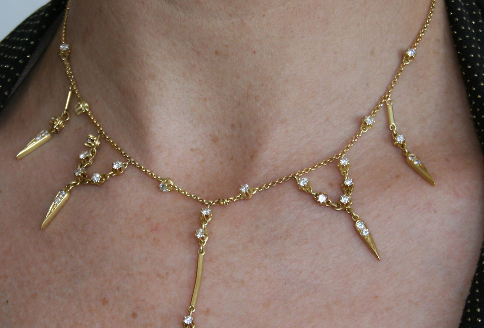 Victorian Style Diamond Drop Bib Necklace in 18k Gold set with 1.60 carats