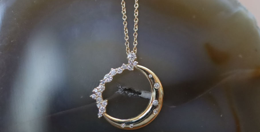 Full Circle Crescent Moon Diamond Pendant with Chain