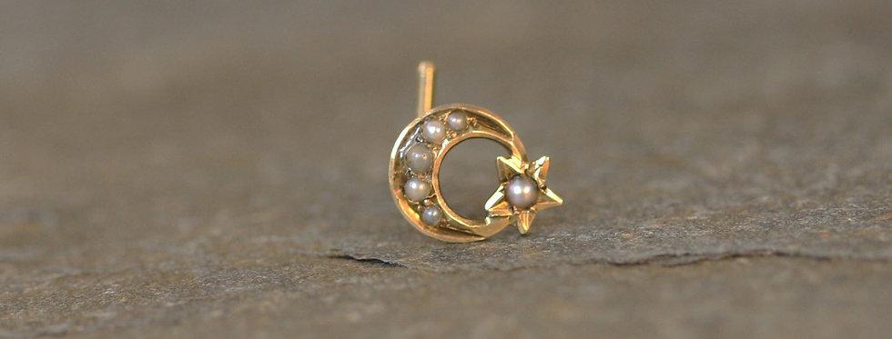 Victorian Crescent Moon & Star Single Stud