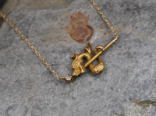 Antique Diamond Serpent Snake Pendant in 10k Gold with 0.03 cts Old Mine Cut Dia