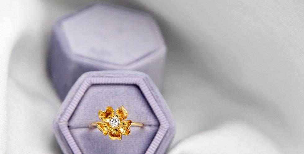 Art Nouveau Engagement Ring / Diamond Flower Ring 14k Yellow