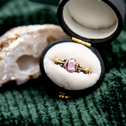 Victorian Rose Cut Pink Sapphire Ring 0.64 cts in 18k Yellow Gold