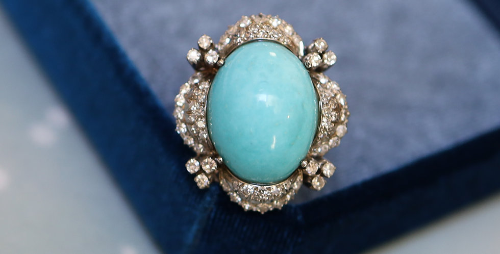 Turquoise and Diamond Ballerina Ring in 14k White Gold