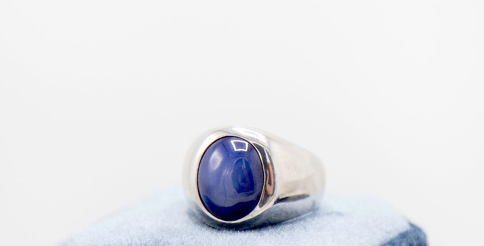 Signet Ring 14k White Gold with Synthetic Star Sapphire