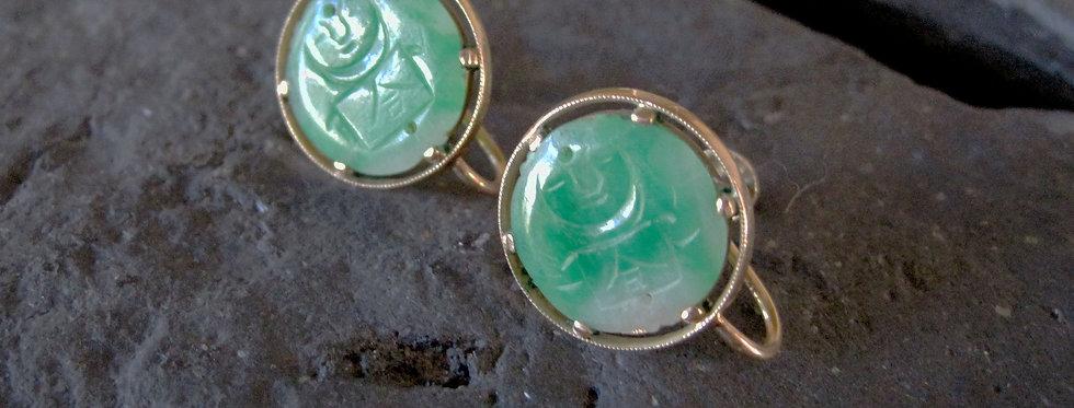 Jade Earrings 18k Gold Carved Jade Clip On Earrings