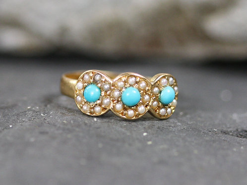 Victorian Hallmarked Three Stone Halo Turquoise and Pearl Ring 18k Yellow Gold
