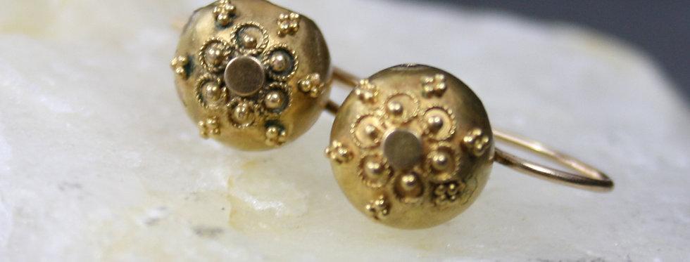 Victorian Etruscan Revival Earrings / Gold Filled Granulated Bead Drop Earrings