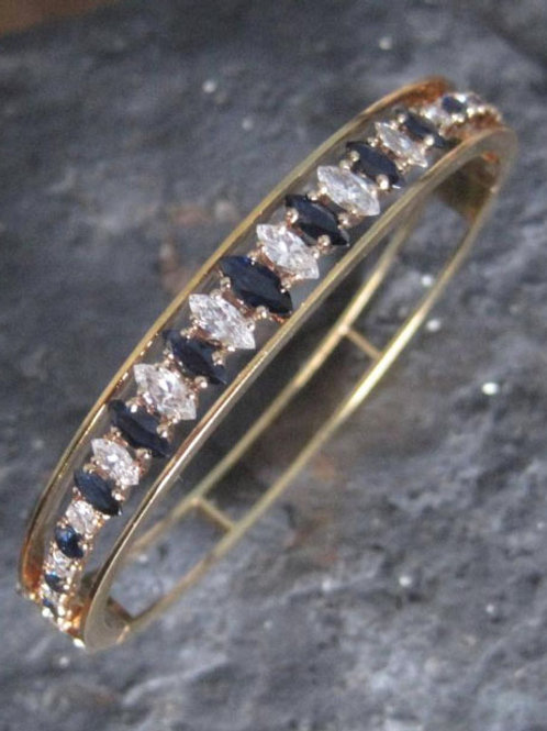 Diamond 1.32 cts and Sapphire 1.52 cts Bangle Bracelet in 18k Yellow Gold