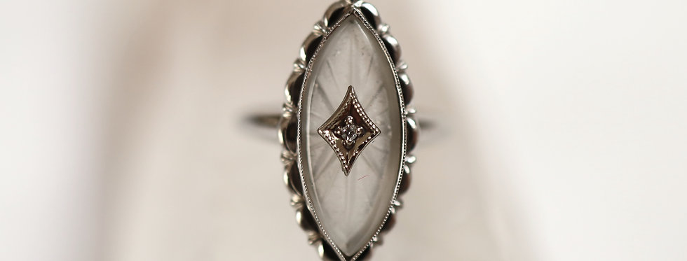 Incredible Camphor Glass Ring with Diamond in 10k White Gold