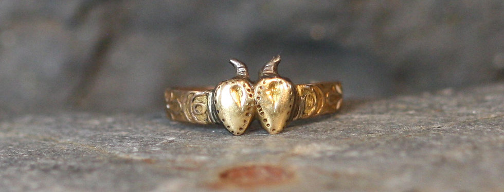 French Georgian Ring with Double Pear Georgian Double Heart Ring