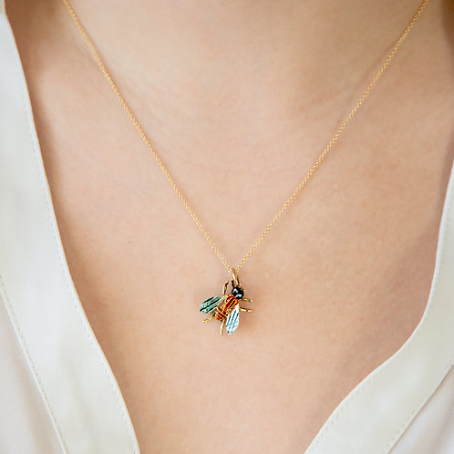 Victorian Fly Pendant 14k Yellow Gold with Vibrant Enamel
