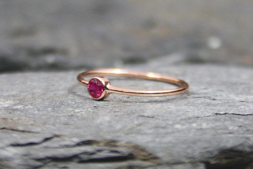 14k Rose Gold Ruby Ring Minimalist Ruby Ring