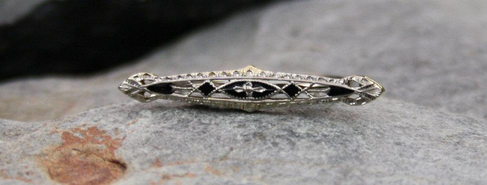 Edwardian Filigree Black Enamel Ring in 14k White & Yellow Gold
