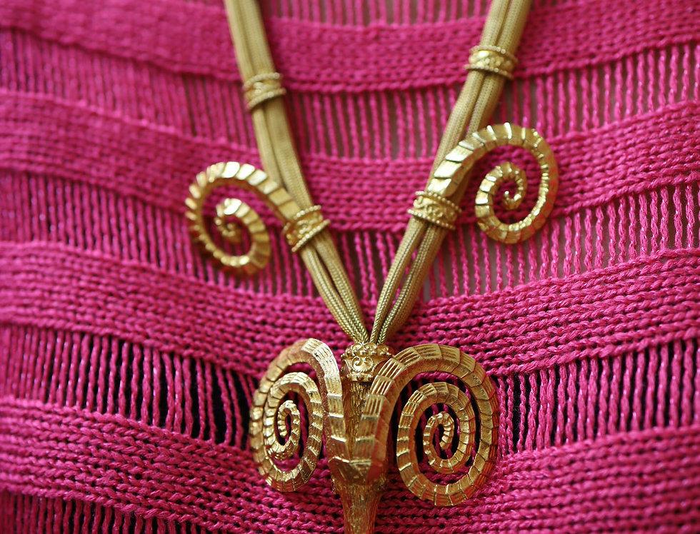 Zolotas Rams Head Mesh Necklace 18k Gold