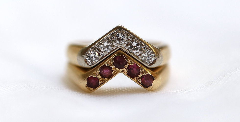 Vintage Chevron Rings Diamond Ring Ruby Ring Stacking Rings