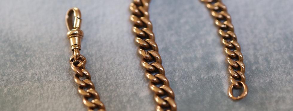 "Antique Victorian 9K Gold Victorian Heavy Curblink Bracelet 7"" Length"