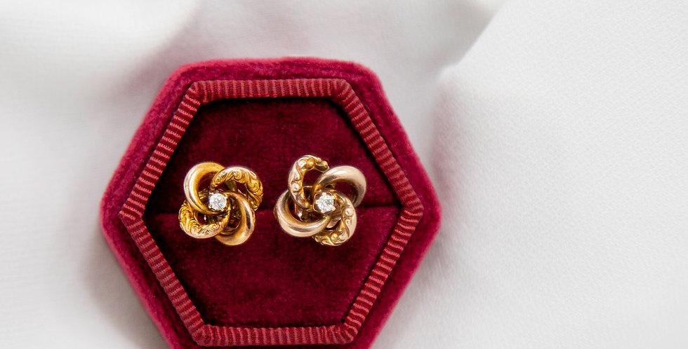 Antique Victorian Diamond Knot Studs in 10k & 14k Pink Gold