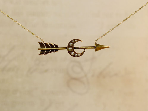Victorian Arrow & Crescent Moon Necklace in 14k Yellow Gold with 14k Yellow Gold
