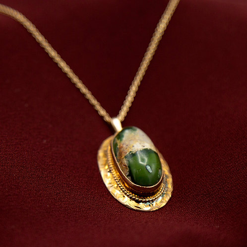 Large Victorian Turquoise Conversion Pendant in 9k Yellow Gold