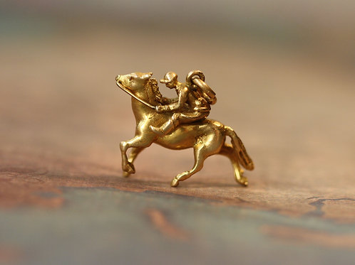 Race Horse with Jockey Charm 14K Yellow Gold Mid Century Charm Pendant - DK395