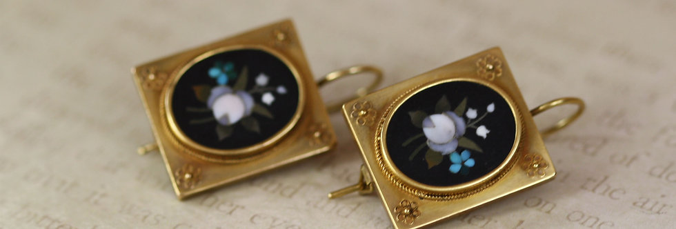 Fine Victorian Pietra Dura Earrings in 18k Yellow Gold