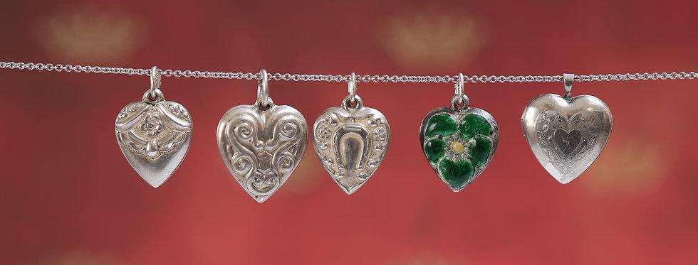 Art Nouveau Silver Puffy Hearts, Puffy Heart Locket