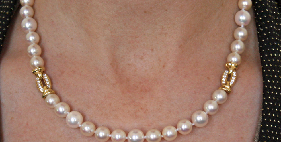 Akoya Pearl Necklace with 18k Yellow Gold Oval Diamond Links