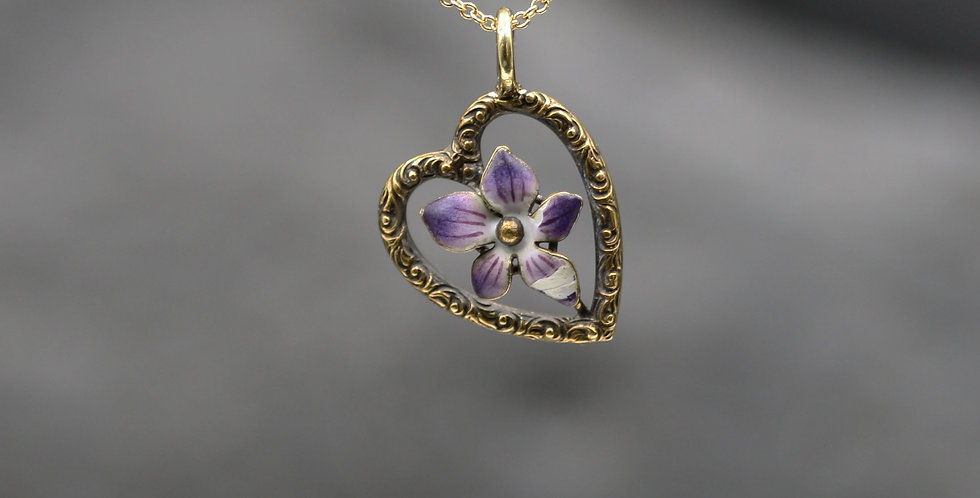 Art Nouveau Antique Repoussé Heart with Enamel Pansy Pendant in 14k Pink Gold